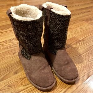 BearPaw Knit and Suede Boots